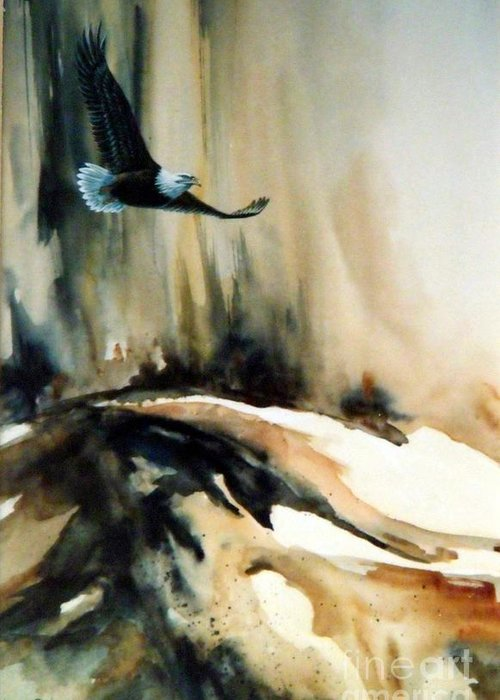 Soaring Eagle Greeting Card featuring the painting Eagle in Flight by Lynne Parker