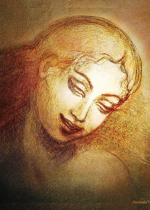 Goddess Greeting Card featuring the mixed media Ecstasy by Ananda Vdovic