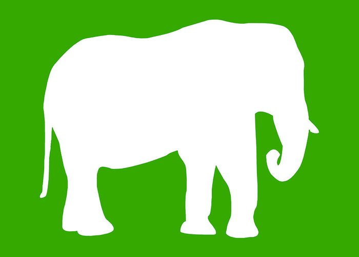 Graphic Art Greeting Card featuring the digital art Elephant In Green And White by Jackie Farnsworth