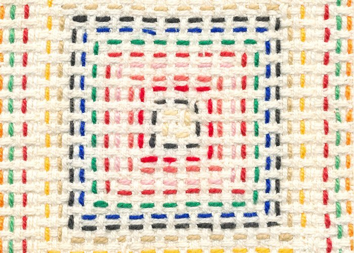 Embroidery Greeting Card featuring the tapestry - textile Embroidery Made By A Child by Kerstin Ivarsson