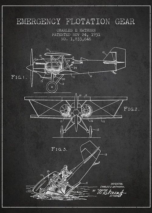 Airplane Greeting Card featuring the drawing Emergency Flotation Gear Patent Drawing From 1931 by Aged Pixel