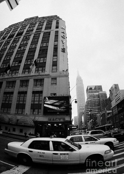 Usa Greeting Card featuring the photograph Empire State Building Shrouded In Mist As Yellow Cabs Crossing Crosswalk On 7th Ave And 34th Street by Joe Fox