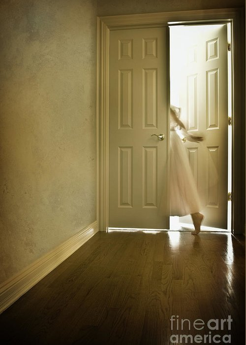 Memory; Woman; Female; Lady; Ghost; Caucasian; Dress; Pink; Flowing; Blur; Foot; Barefoot; Door; Doorway; Wood Floors; Closed; Open; Going Into The Light; Light; Bright; Heaven; Death; Wall; House; Home; Indoors; Inside; Hall; Foyer; Walking; Conceptual Greeting Card featuring the photograph Entrance by Margie Hurwich