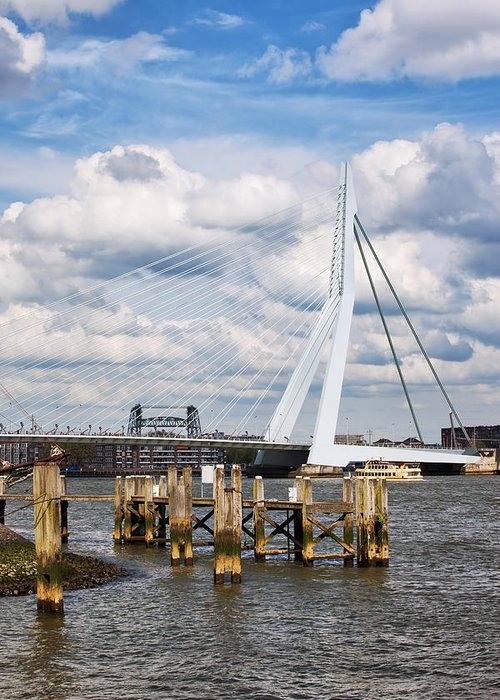 Rotterdam Greeting Card featuring the photograph Erasmus Bridge In Rotterdam by Artur Bogacki