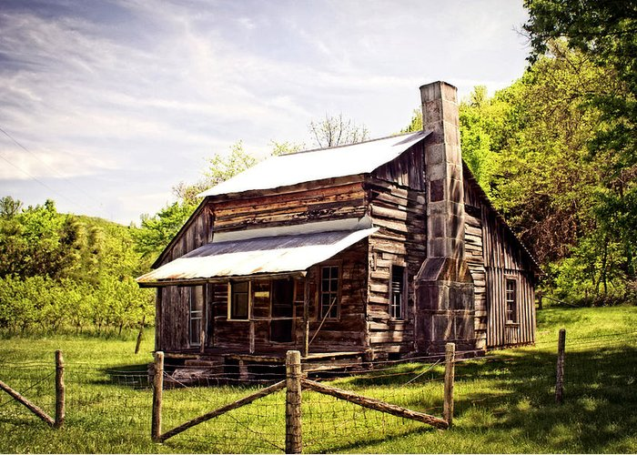 Log Cabin Greeting Card featuring the photograph Erbie Homestead by Marty Koch
