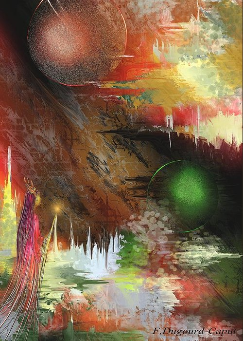 Abstract Greeting Card featuring the painting Esperance by Francoise Dugourd-Caput