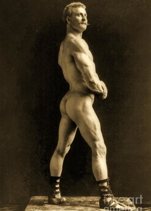 Circus Greeting Card featuring the painting Eugen Sandow by Napoleon Sarony