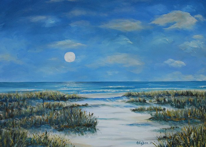 Seascape Greeting Card featuring the painting Evening Calm by Stanton Allaben