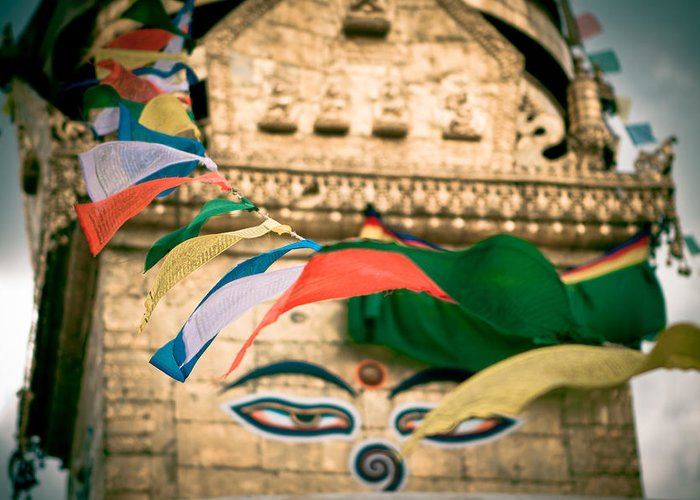 Wisdom Greeting Card featuring the photograph Eye Boudhanath Stupa In Nepal by Raimond Klavins