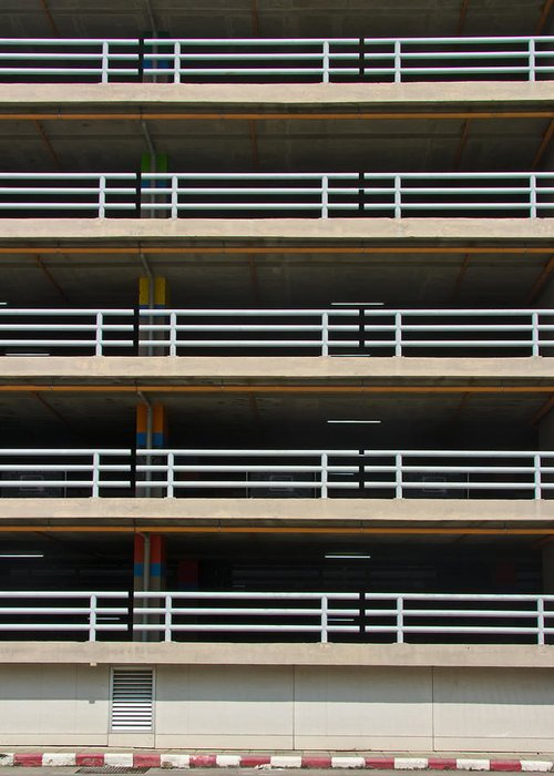 Abstract Greeting Card featuring the photograph Facade Of Parking Building In Thailand by Ammar Mas-oo-di