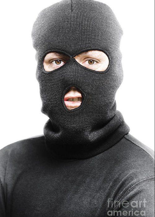 Background Greeting Card featuring the photograph Face Of A Burglar Wearing A Ski Mask Or Balaclava by Jorgo Photography - Wall Art Gallery
