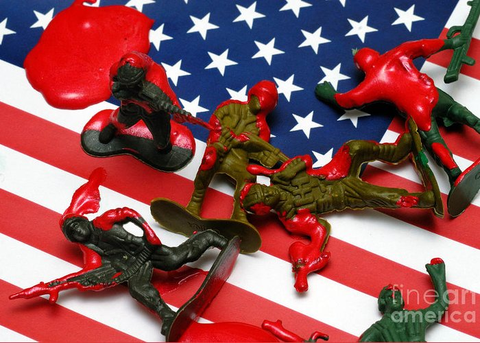 Against The War Greeting Card featuring the photograph Fallen Toy Soliders On American Flag by Amy Cicconi