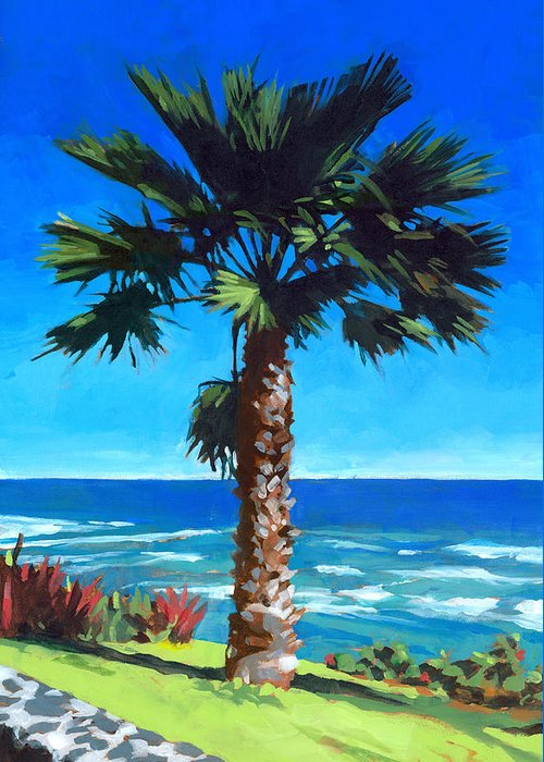 Fan Palm Greeting Card featuring the painting Fan Palm - Diamond Head by Douglas Simonson