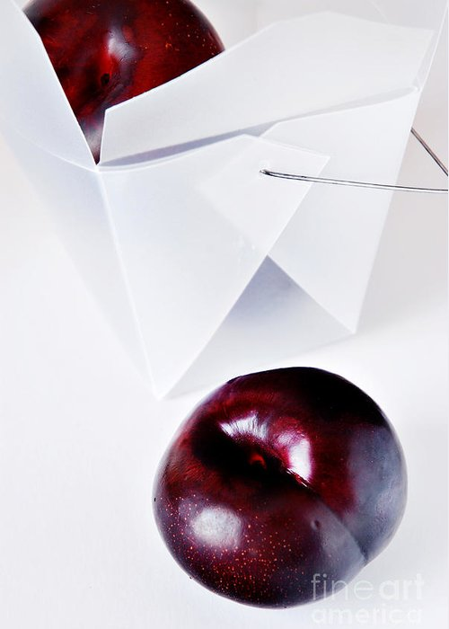 Plum Greeting Card featuring the photograph Feather With Stones by HD Connelly