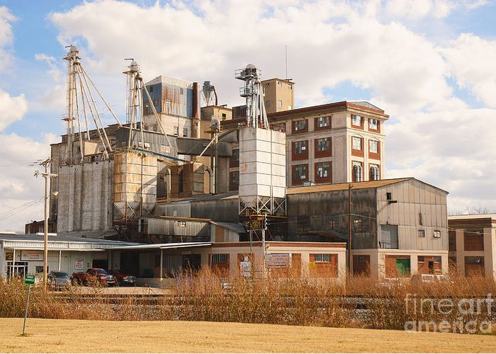 Feed+mill Greeting Card featuring the photograph Feed Mill by Charles Beeler
