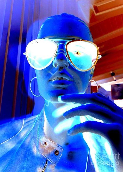 Mannequin Greeting Card featuring the digital art Feelin Blue by Ed Weidman