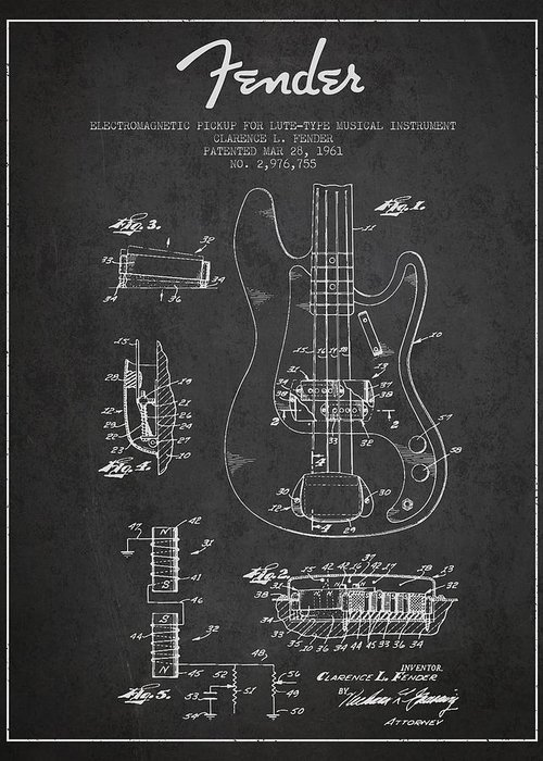 Fender Greeting Card featuring the drawing Fender Guitar Patent Drawing From 1961 by Aged Pixel