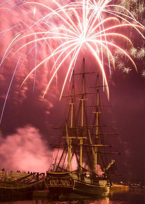 Salem Fireworks Greeting Card featuring the photograph Fireworks Exploding Over Salem's Friendship by Jeff Folger
