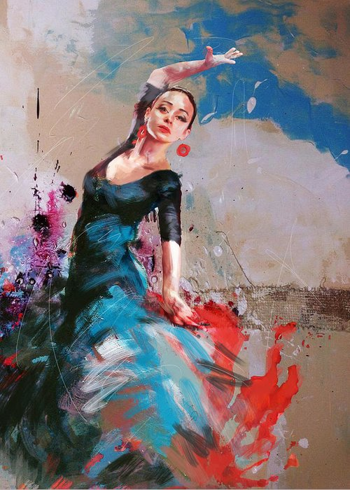 Jazz Greeting Card featuring the painting Flamenco 41 by Maryam Mughal