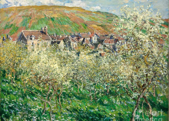 Claude Greeting Card featuring the painting Flowering Plum Trees by Claude Monet