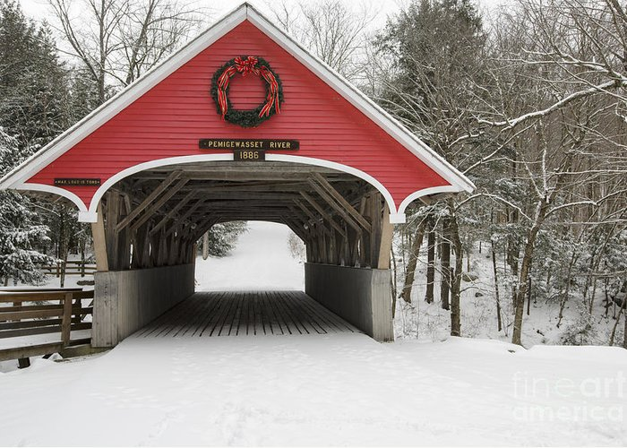 Lincoln Greeting Card featuring the photograph Flume Covered Bridge - White Mountains New Hampshire Usa by Erin Paul Donovan