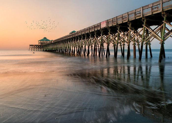 Folly Beach Greeting Card featuring the photograph Folly Beach Pier by Tommy White