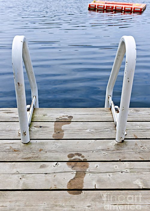 Footprints Greeting Card featuring the photograph Footprints On Dock At Summer Lake by Elena Elisseeva