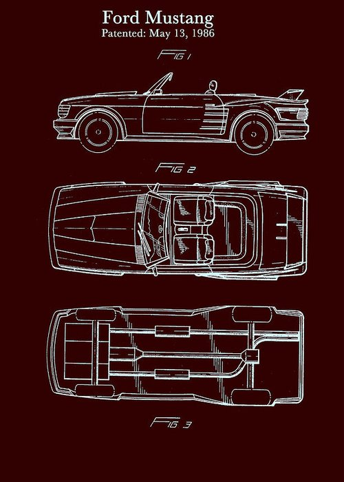 Patent Greeting Card featuring the drawing Ford Mustang Automobile Body Patent 1986 by Mountain Dreams