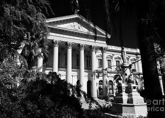 Former Greeting Card featuring the photograph former national congress building Santiago Chile by Joe Fox