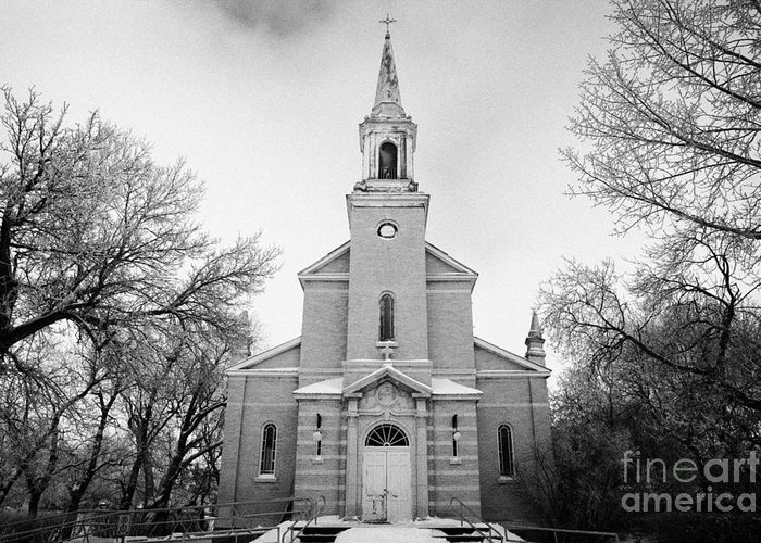 Former Greeting Card featuring the photograph former st josephs catholic church in Forget Saskatchewan Canada by Joe Fox