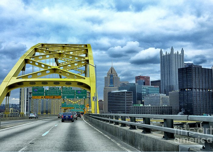 Bridge Greeting Card featuring the photograph Fort Pitt Bridge And Downtown Pittsburgh by Thomas R Fletcher
