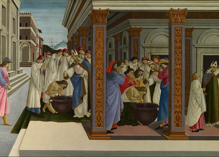 Sandro Botticelli Greeting Card featuring the painting Four Scenes From The Early Life Of Saint Zenobius by Sandro Botticelli