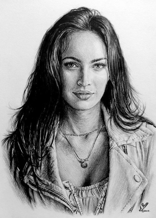 Megan Fox Greeting Card featuring the painting Foxy by Andrew Read