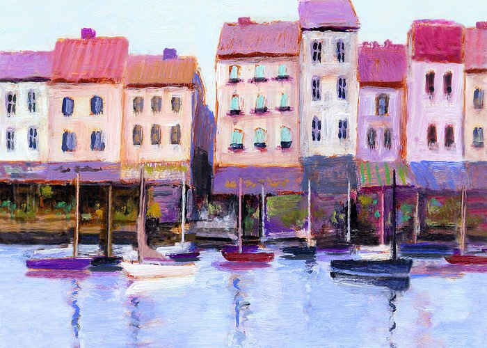 Boats Greeting Card featuring the painting French Harbor by J Reifsnyder