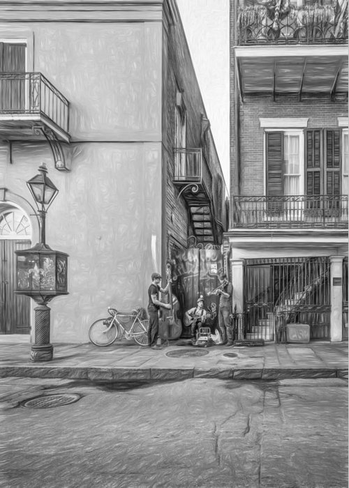 French Quarter Greeting Card featuring the photograph French Quarter Trio - Paint Bw by Steve Harrington