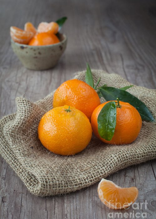 Tangerine Greeting Card featuring the photograph Fresh Tangerine by Sabino Parente