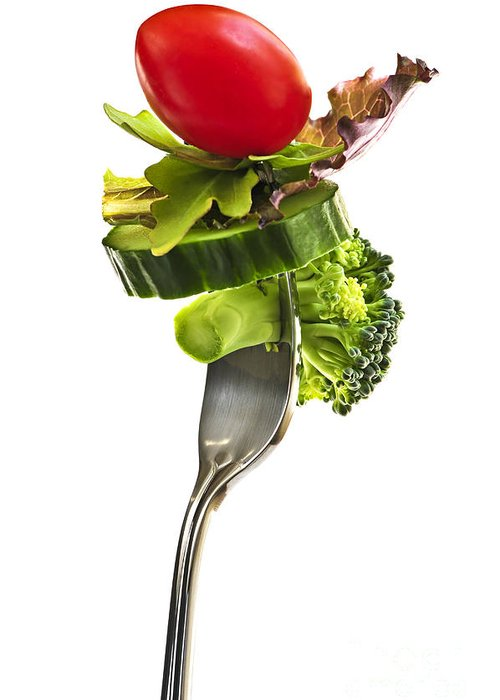 Fork Greeting Card featuring the photograph Fresh Vegetables On A Fork by Elena Elisseeva