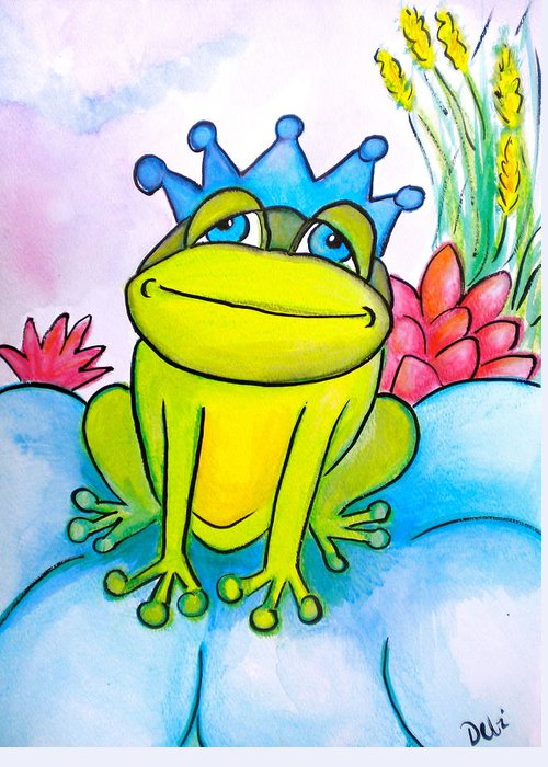 Frog Prince Greeting Card featuring the painting Frog Prince by Debi Starr
