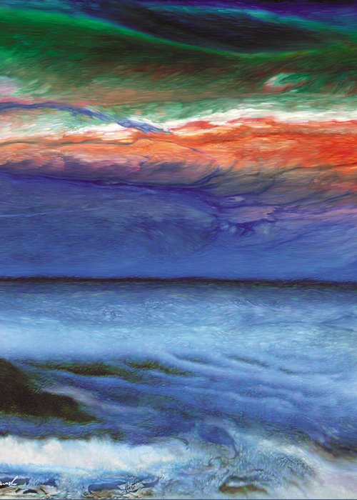 alien Landscape Greeting Card featuring the painting Frosty Wind by The Art of Marsha Charlebois