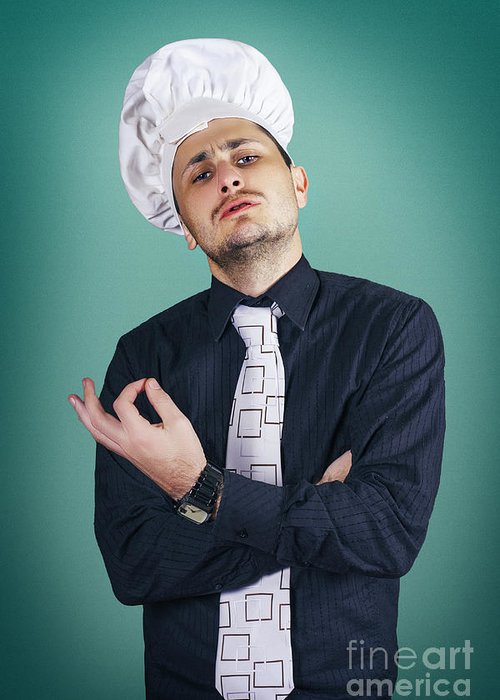 Funny Italian Chef Giving Ok Sign For Good Cooking Greeting Card