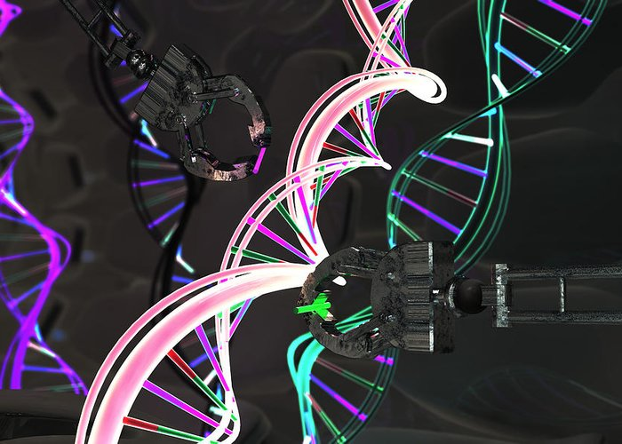 Adenine Greeting Card featuring the photograph Genetic Engineering, Conceptual by Ella Marus Studio