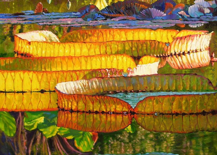 Water Lilies Greeting Card featuring the painting Glorious Morning Lilies by John Lautermilch