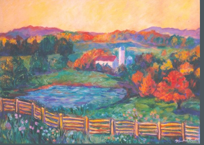 Kendall Kessler Greeting Card featuring the painting Golden Farm Scene by Kendall Kessler