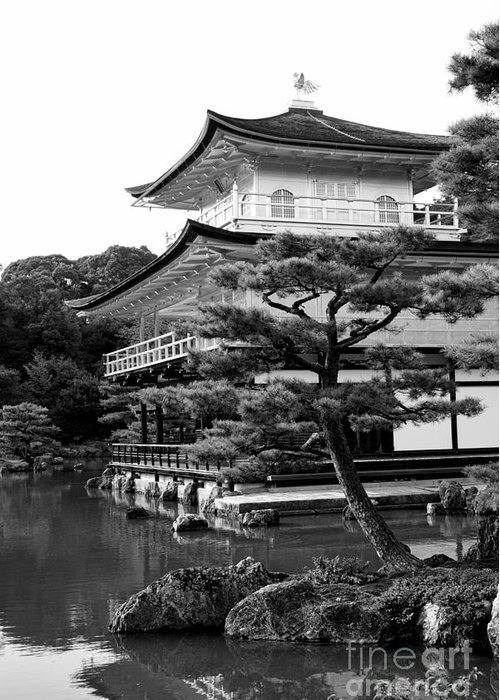 Black And White Greeting Card featuring the photograph Golden Pagoda In Kyoto Japan by David Smith