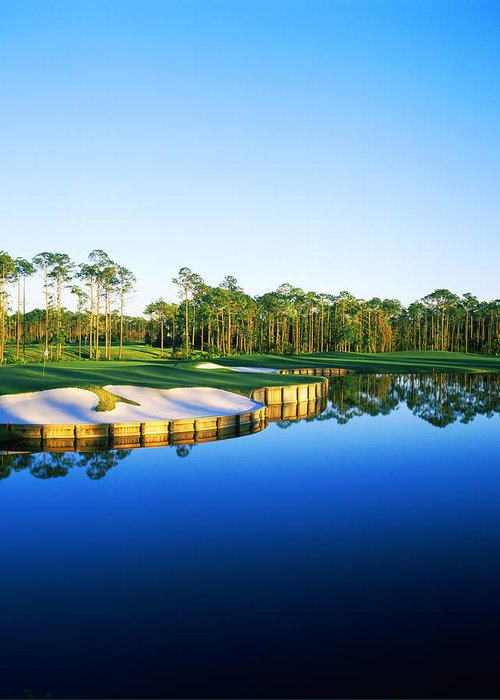 Photography Greeting Card featuring the photograph Golf Course At The Lakeside, Regatta by Panoramic Images