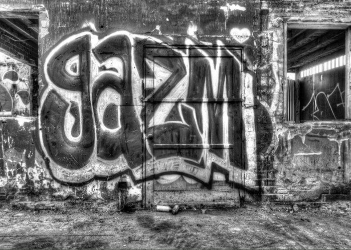 Graffiti Gazm Greeting Card featuring the digital art Graffiti Door by Purple Moon