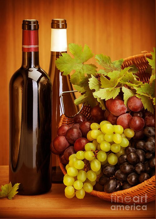 Alcohol Greeting Card featuring the photograph Grape Wine Still Life by Anna Om