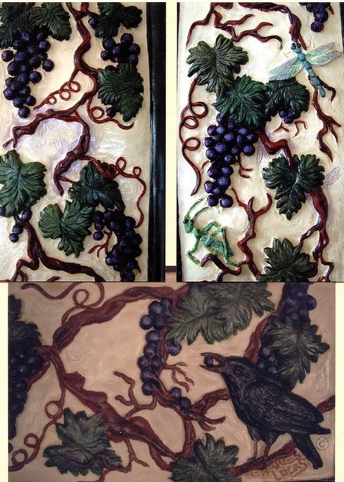 Ceramic Greeting Card featuring the ceramic art Grapevine by Charles Lucas