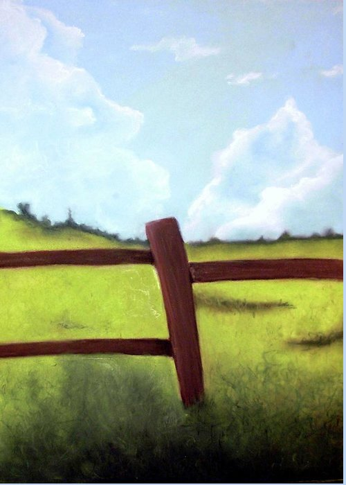 Wood Fence Greeting Card featuring the drawing Grass Is Greener by Corina Bishop