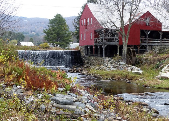 Horizontal Greeting Card featuring the photograph Gristmill Weston Vermont by Jim Wallace